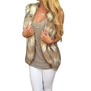 Jackets & Blazers - 🎀 Sleeveless Front Open Faux Fur Vests Coat 🎀
